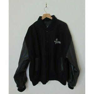 Whitetails Unlimited XL Wool Bomber Jacket Black